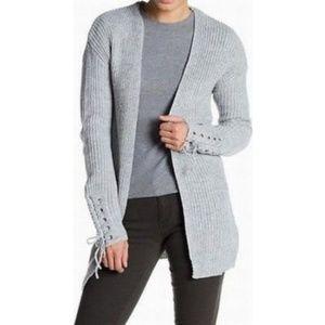 Ten Sixty Sherman Grey Cardigan Sweater Lace-Up